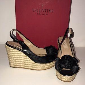 Valentino Black leather sling back Wedges